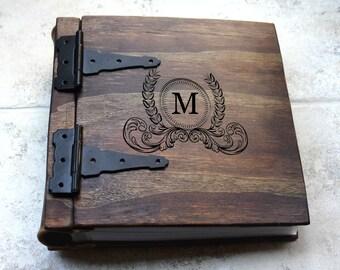 Unique Wood Photo Album, Journal + Monogram, Artist Portfolio, Large Custom Personalized Wood Book, Unique Gift Idea, Personalize Wood Book