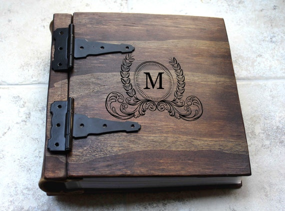 Wooden Book Cover Diy : Monogram photo album wood leather artist by rusticengravings