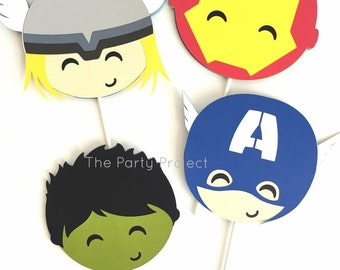 12 Avengers cupcake toppers | Captain America, Thor, Iron Man | Birthday or baby shower decor | Superhero party candy bar | cupcake picks.
