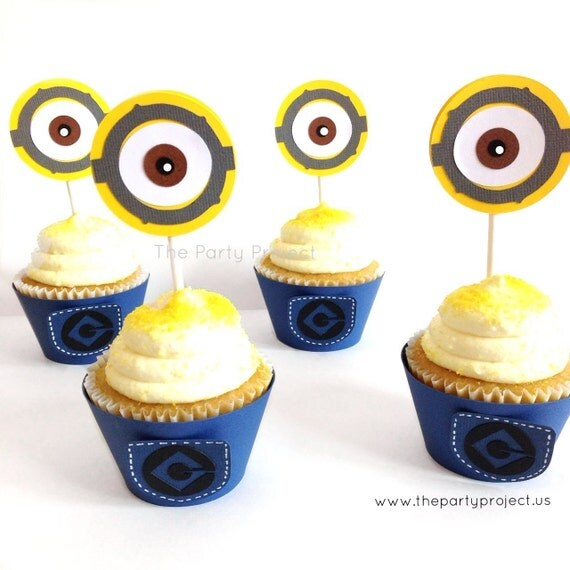minions birthday or baby shower decor minions pants cupcake liners