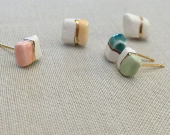 Ceramic stud earrings with 22kt gold, geometric studs, minimalist studs, gold earrings, ceramic earrings