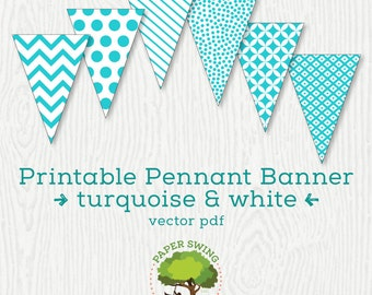 Printable Turquoise & White Pennant Banner