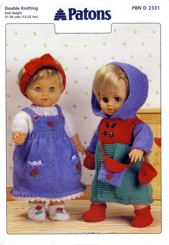 Patons 2331 DOLLS CLOTHES Knitting Pattern. Pinafore Dress