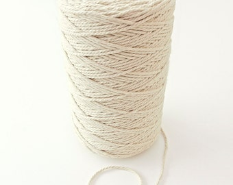 360 yards - 3 mm diameter, 1kg Natural Cotton Rope Twisted Craft Decorative Cord For Craft Projects, FM050