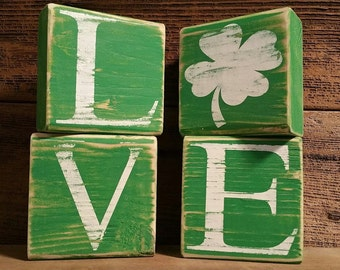 St. Patrick's Day Blocks, Love Blocks, Shamrock, St. Patrick's decor, St. Patrick's Day Tiles, Lucky in love st. Patrick's Day Decor