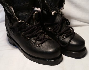 Vintage 1990's Black Leather German Hiking Boots - NEW
