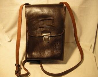 Vintage 1960's Chocolate Brown Leather Officer Field Bad - Shoulder Bag - NEW