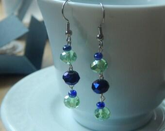 Dark Purple and Light Green Dangle Earrings