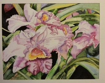 Pink Orchids Original Watercolor Painting (unframed)