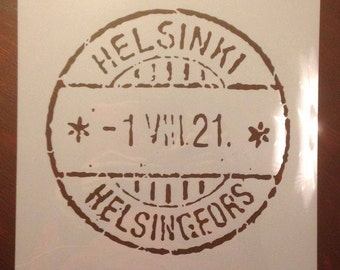 stencil Stamp HELSINKI HELSINGFORS for different painting DIY projects