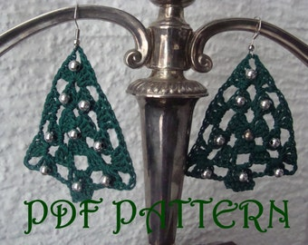 Crochet Christmas Tree Earrings PDF Pattern