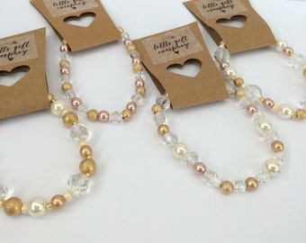Crystal gold pearl beaded bracelet