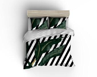 Black and white striped banana leaf duvet cover