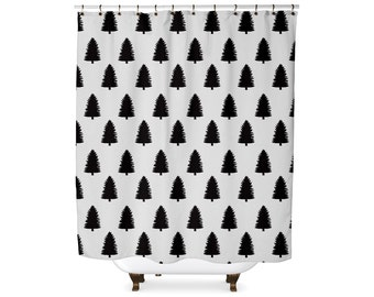 Black and white pine tree shower curtain