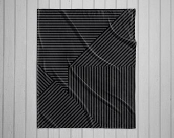 Black and grey stripe pattern modern plush throw blanket with white back