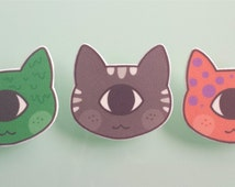 Cat brooch pin - Cyclops cats - one eyed cats - cat jewelry