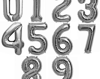 """Jumbo Silver Number Balloons/ XL Silver Number Balloons/ 34"""" Silver Number Balloons/ Large Silver Letter Balloons/ Party Number Balloons"""