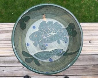 Vintage Stoneware Green Glaze Bowl / Ceramic Bowl with Fish Motif / Stoneware Fish Bowl / Green Stoneware Decorative Bowl
