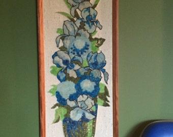 Mid Century Gravel Pebble Art / Mid Century Wall Hanging Original Art / Gravel Art Blue Arises / Blue Flowers /Retro Art / Vintage Art
