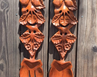 Vintage Hand Carved Spoon and Fork / Mid Century Wood Carved Wall Decor / Wooden Fork and Spoon Wall Decor / Folk Kitchen Decor