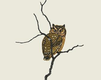 Owl Embroidery Design 4x4 hoop