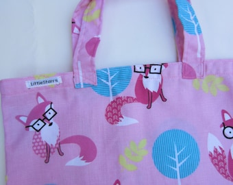 Foxy Pink Fabric School Library Book Tote Bag