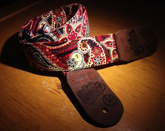 Blister'd Firestarter Leather Ended Paisley Guitar Strap