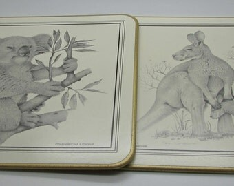 Jason Placemats Luncheon Mats Animal Sketches Set Of 6 Kangaroos Koala Bears  Anteater Wombat Platypus Squireel Glider Peter Longhurst