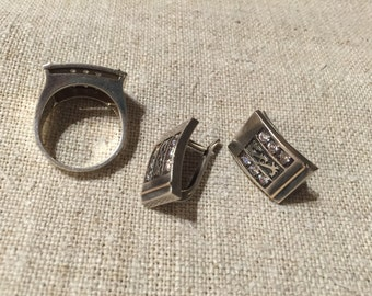 Sterling silver vintage set earrings and ring with zirconia