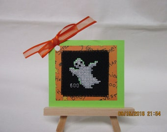 Coss stitched Halloween Gift Tagr