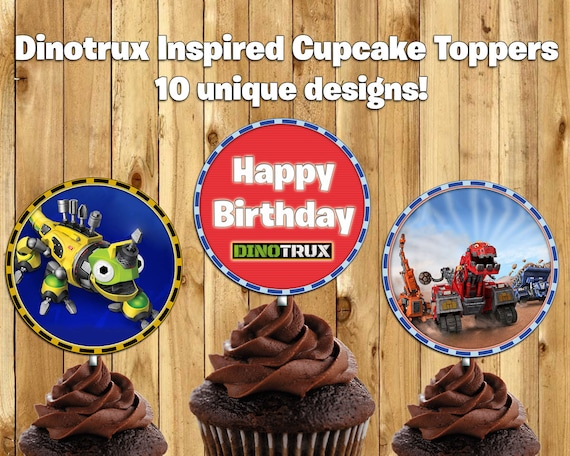 Dinotrux Inspired Cupcake Toppers Dinotrux Cake Toppers Dinotrux Birthday Decoration Dinotrux Cupcake Toppers Dinotrux instant download