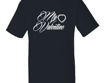 """Mens """"My Valentine"""" T-shirt with the lettering in velvet flock on a black or white T-shirt"""