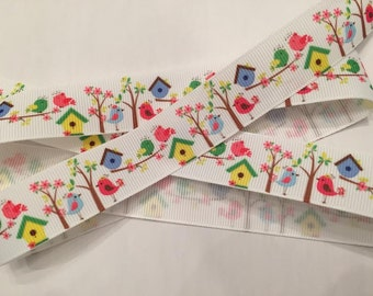 Birdhouses and Birds Grosgrain Ribbon 7/8""