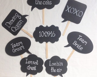 Speech bubble photo booth signs, handwritten for weddings/events. Set of 8