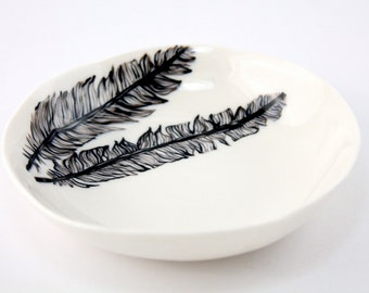 Hand painted black feather porcelain ceramic plate - ceramics and pottery
