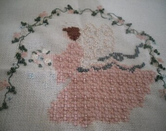 Completed cross stitch sewing of  'Renaissance Angel'