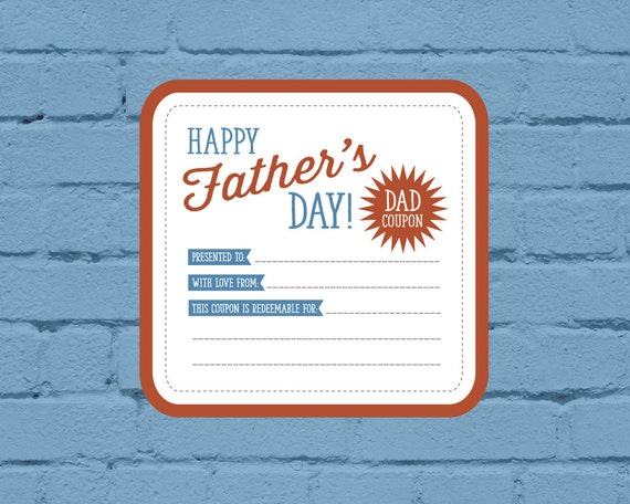 father u0026 39 s day coupon printable personalized gift by