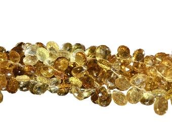 8 IN Strand 7x10 mm Cognac Quartz Fine Quality Flat Teardrop Faceted Gemstone Beads (CGQFTF0710)
