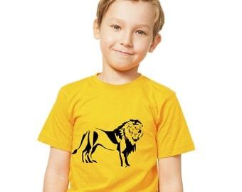 Kids Lion T-Shirt / Childrens Big Cat Animal T Shirt in Pink, Grey, Light Blue, Yellow, Orange / Ages: 3-4, 5-6, 7-8, 9-11, 12-13