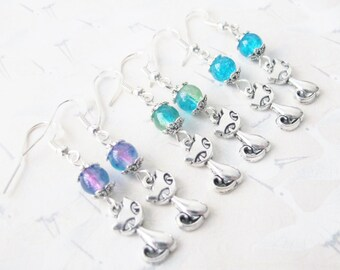 Cat earrings, cat jewelry, earrings silvery cat, kitten jewelry, little cat, earrings children, gift for her, summer earrings
