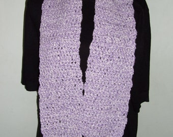 Hand Crocheted purple and white scarf