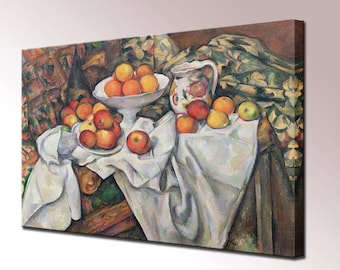 Apples and Oranges Canvas Print Cezanne Framed Ready To Hang Wall Art Picture