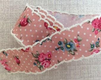 Pink Floral Polka Dot Edged Ribbon