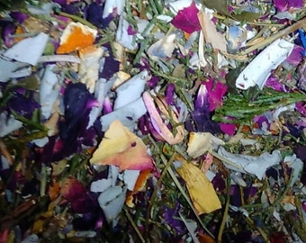 3-ounces dry herbs and botanicals intended for use in a smudge pot\ Shell and charcoal tablet.