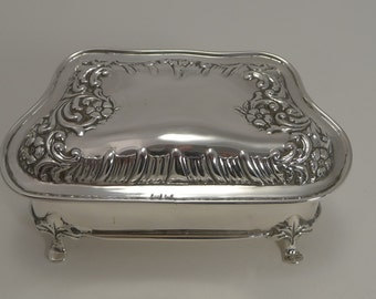 Pretty Antique English Sterling Silver Jewelry Box - 1902