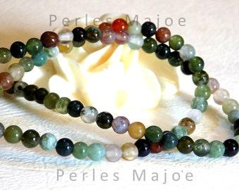 86 perles agate indienne naturelles rondes assorties 4.5 mm environ