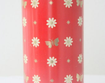Rare Vintage Ark Beschuit Canister, Dutch Storage Tin Can, Red With White/Gold Daisy and Butterfly Pattern, Biscuit Storage Tin