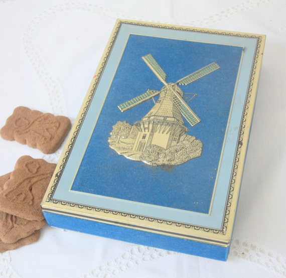 Rare Vintage Chocolate or Cookie Tin with Velveteen Fabric Cover and Windmill Decor, Dutch Chocolate Box