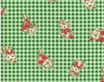 Pocket Kittens - Valentine Kittens on Small Green Gingham Background by the Half Yard