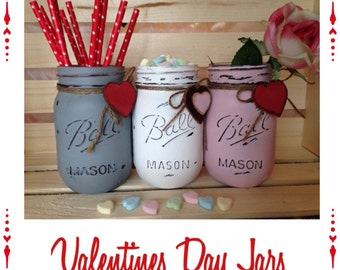 Valentine Jars. Painted Mason Jar. Valentine Decor. Home Decor. Valentine Gift. Mothers Day Gift. Teachers Gift. Birthday.